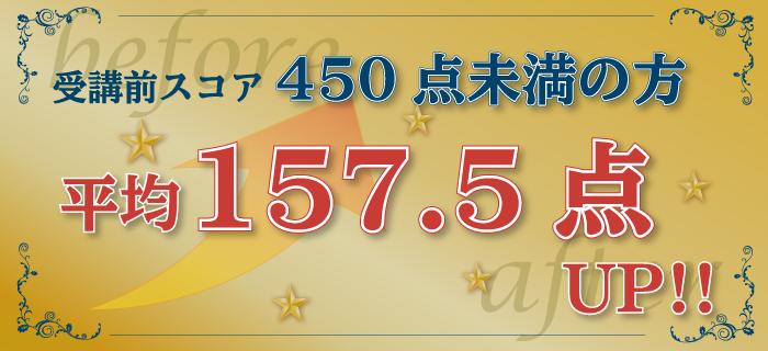 受講前400点未満→平均157.5点アップ!