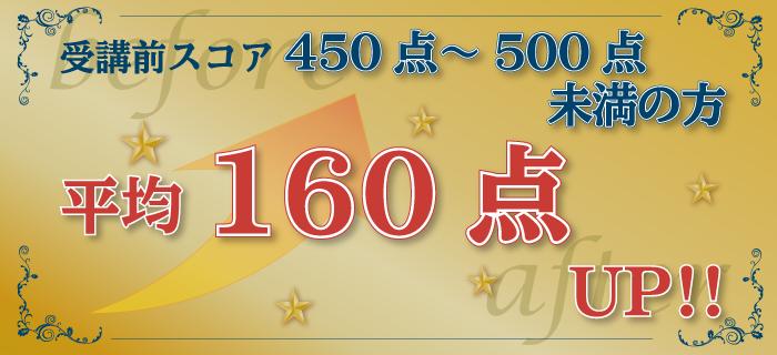 受講前400点~500点未満→平均160点アップ!
